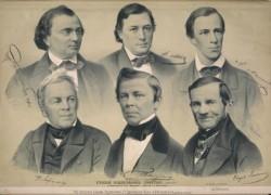 Нижний  ряд,  крайний  слева  - И.И. Лажечников, крайний справа - Ф.Н.Глинка.  Русские писатели  и  журналисты. Русский художественный листок  1859.