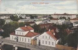 Общий вид на  ул. Секретарской (Крылова), кирху и площадь Детских садиков.  Старинная открытка